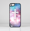 The Vector White Cross v2 over Colorful Neon Space Nebula Skin-Sert for the Apple iPhone 5c Skin-Sert Case