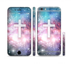 The Vector White Cross v2 over Colorful Neon Space Nebula Sectioned Skin Series for the Apple iPhone 6 Plus