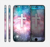 The Vector White Cross v2 over Colorful Neon Space Nebula Skin for the Apple iPhone 6 Plus
