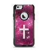 The Vector White Cross v2 over Glowing Pink Nebula Apple iPhone 6 Otterbox Commuter Case Skin Set