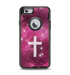 The Vector White Cross v2 over Glowing Pink Nebula Apple iPhone 6 Otterbox Defender Case Skin Set