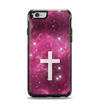 The Vector White Cross v2 over Glowing Pink Nebula Apple iPhone 6 Otterbox Symmetry Case Skin Set