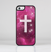 The Vector White Cross v2 over Glowing Pink Nebula Skin-Sert for the Apple iPhone 5c Skin-Sert Case