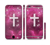 The Vector White Cross v2 over Glowing Pink Nebula Sectioned Skin Series for the Apple iPhone 6 Plus