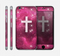 The Vector White Cross v2 over Glowing Pink Nebula Skin for the Apple iPhone 6