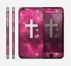 The Vector White Cross v2 over Glowing Pink Nebula Skin for the Apple iPhone 6 Plus