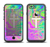 The Vector White Cross v2 over Neon Color Fushion Apple iPhone 6 LifeProof Fre Case Skin Set