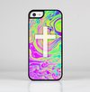 The Vector White Cross v2 over Neon Color Fushion Skin-Sert for the Apple iPhone 5c Skin-Sert Case