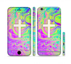 The Vector White Cross v2 over Neon Color Fushion Sectioned Skin Series for the Apple iPhone 6