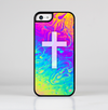 The Vector White Cross v2 over Neon Color Fushion V2 Skin-Sert for the Apple iPhone 5c Skin-Sert Case