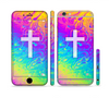 The Vector White Cross v2 over Neon Color Fushion V2 Sectioned Skin Series for the Apple iPhone 6
