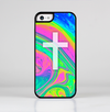 The Vector White Cross v2 over Neon Color Fushion V3 Skin-Sert for the Apple iPhone 5c Skin-Sert Case