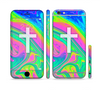 The Vector White Cross v2 over Neon Color Fushion V3 Sectioned Skin Series for the Apple iPhone 6
