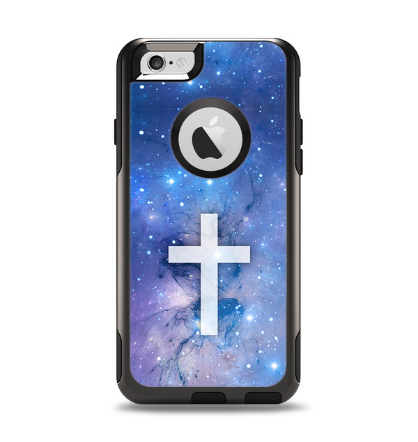The Vector White Cross v2 over Purple Nebula Apple iPhone 6 Otterbox Commuter Case Skin Set