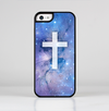 The Vector White Cross v2 over Purple Nebula Skin-Sert for the Apple iPhone 5c Skin-Sert Case