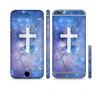 The Vector White Cross v2 over Purple Nebula Sectioned Skin Series for the Apple iPhone 6 Plus