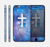 The Vector White Cross v2 over Purple Nebula Skin for the Apple iPhone 6 Plus