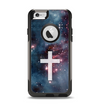 The Vector White Cross v2 over Red Nebula Apple iPhone 6 Otterbox Commuter Case Skin Set