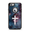 The Vector White Cross v2 over Red Nebula Apple iPhone 6 Otterbox Defender Case Skin Set