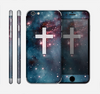 The Vector White Cross v2 over Red Nebula Skin for the Apple iPhone 6 Plus