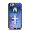 The Vector White Cross v2 over Space Nebula Apple iPhone 6 Otterbox Defender Case Skin Set