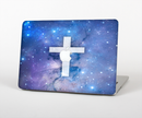"The Vector White Cross v2 over Space Nebula Skin Set for the Apple MacBook Pro 15"" with Retina Display"