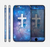 The Vector White Cross v2 over Space Nebula Skin for the Apple iPhone 6