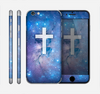 The Vector White Cross v2 over Space Nebula Skin for the Apple iPhone 6 Plus
