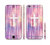 The Vector White Cross v2 over Vibrant Fading Purple Fabric Streaks Sectioned Skin Series for the Apple iPhone 6