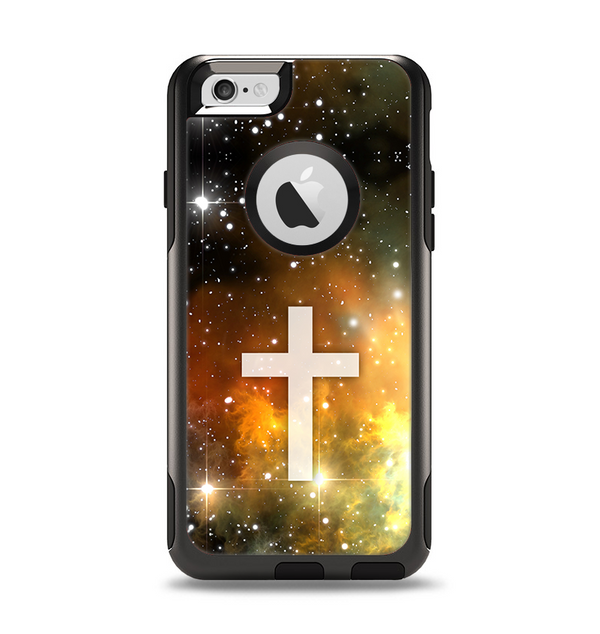 The Vector White Cross v2 over Yellow Nebula Apple iPhone 6 Otterbox Commuter Case Skin Set