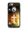 The Vector White Cross v2 over Yellow Nebula Apple iPhone 6 Otterbox Defender Case Skin Set