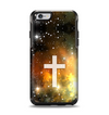 The Vector White Cross v2 over Yellow Nebula Apple iPhone 6 Otterbox Symmetry Case Skin Set