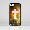 The Vector White Cross v2 over Yellow Nebula Skin-Sert for the Apple iPhone 5c Skin-Sert Case
