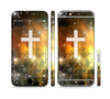 The Vector White Cross v2 over Yellow Nebula Sectioned Skin Series for the Apple iPhone 6