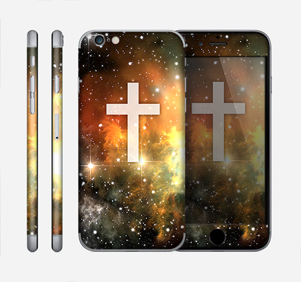 The Vector White Cross v2 over Yellow Nebula Skin for the Apple iPhone 6