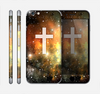 The Vector White Cross v2 over Yellow Nebula Skin for the Apple iPhone 6 Plus