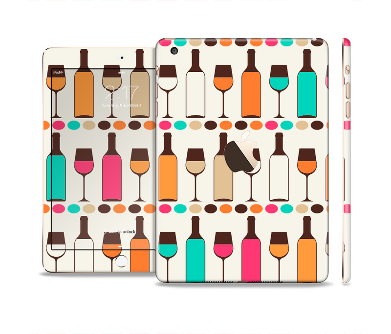 The Vectored Color Wine Glasses & Bottles Full Body Skin Set for the Apple iPad Mini 3