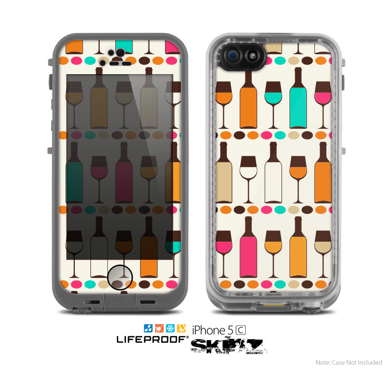 The Vectored Color Wine Glasses & Bottles Skin for the Apple iPhone 5c LifeProof Case