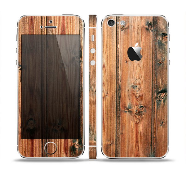 The Vertical Raw Aged Wood Planks Skin Set for the Apple iPhone 5