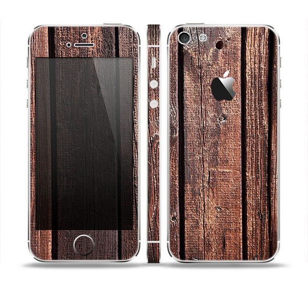 The Vetrical Raw Dark Aged Wood Planks Skin Set for the Apple iPhone 5