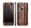 The Vetrical Raw Dark Aged Wood Planks Skin Set for the Apple iPhone 5s