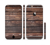 The Vetrical Raw Dark Aged Wood Planks Sectioned Skin Series for the Apple iPhone 6