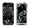 The Vibrant Black & Silver Butterfly Outline Apple iPhone 4-4s LifeProof Fre Case Skin Set