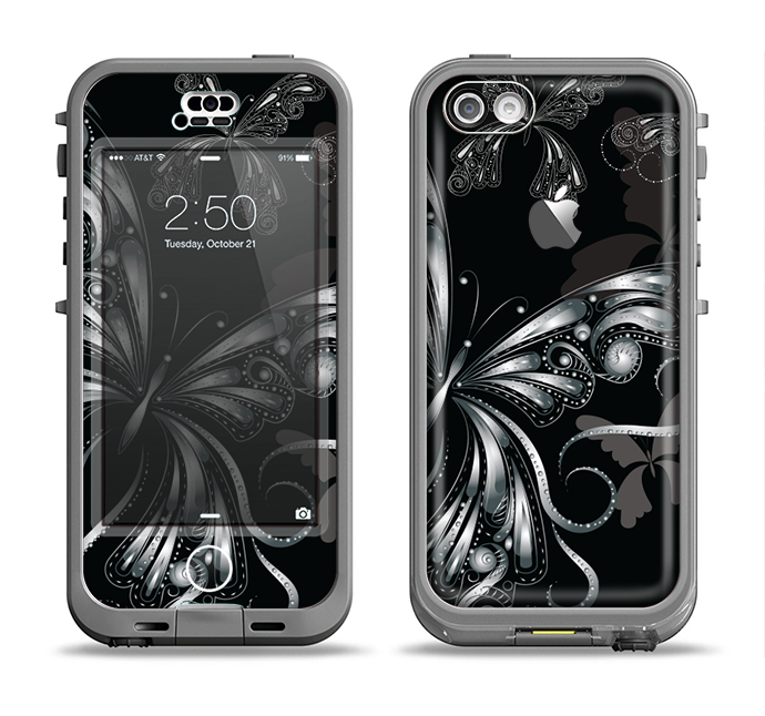 The Vibrant Black & Silver Butterfly Outline Apple iPhone 5c LifeProof Nuud Case Skin Set