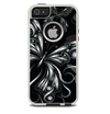 The Vibrant Black & Silver Butterfly Outline Skin For The iPhone 5-5s Otterbox Commuter Case