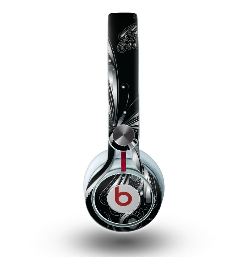 The Vibrant Black & Silver Butterfly Outline Skin for the Beats by Dre Mixr Headphones