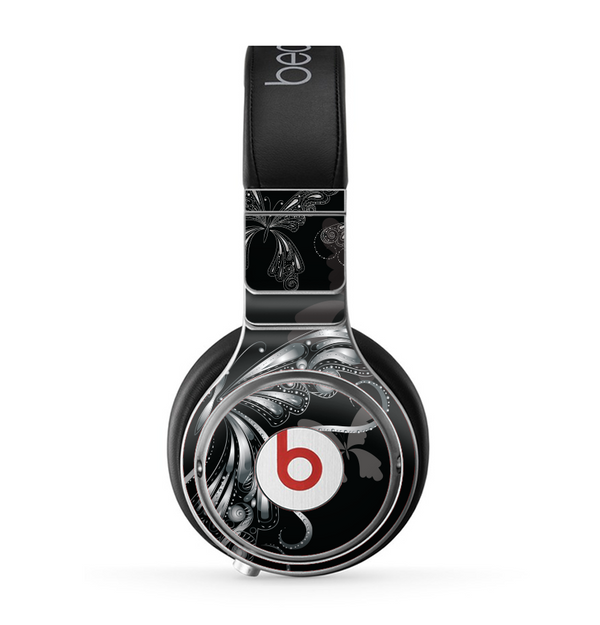The Vibrant Black & Silver Butterfly Outline Skin for the Beats by Dre Pro Headphones