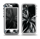 The Vibrant Black & Silver Butterfly Outline Skin for the iPhone 5-5s OtterBox Preserver WaterProof Case
