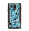 The Vibrant Blue Butterfly Plaid Samsung Galaxy S5 Otterbox Commuter Case Skin Set