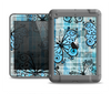 The Vibrant Blue Butterfly Plaid Apple iPad Air LifeProof Fre Case Skin Set
